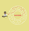 African businessman going to success in a maze