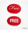 big red free button vector image