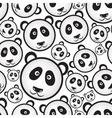 black and white panda bear head seamless pattern vector image