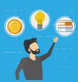 business man money idea books vector image vector image