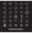 business model editable line icons set on vector image