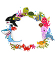 cartoon sea animals with blank sign for you design vector image vector image