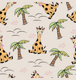 cute seamless pattern with cartoon giraffes vector image vector image