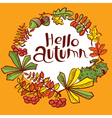 Fall season round wreath with chestnut vector image