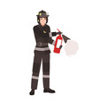 firefighter fireman or rescuer wearing fireproof vector image vector image