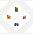 flat icon oil set of petrol container fuel vector image vector image