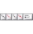 Four aces poker hand card symbols on computer keyb