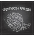 french fries scetch on a black board vector image vector image
