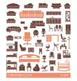 furniture icon set flat interior vector image