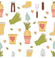 gardening craft spring seamless pattern vector image