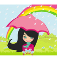 girl walking in the rain vector image vector image