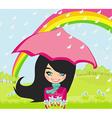 girl walking in the rain vector image vector image