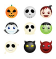 halloween characters icons vector image vector image