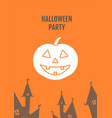 halloween party with pumpkins greeting card vector image