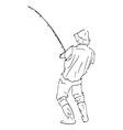 Hand sketch line fisherman vector image vector image