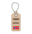 hang tag made in norway with flag icon isolated on vector image vector image