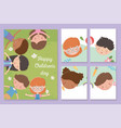 happy children day banners smiling boys vector image vector image