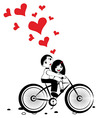 Happy man and woman in love on bicycle vector image vector image