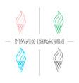 ice cream cone hand drawn icons set vector image vector image