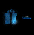 merry christmas blue glitter gift greeting card vector image