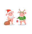 new year piglets in santa and deer costumes set vector image