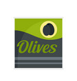 olives can icon flat style vector image vector image