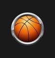 orange basketball button vector image vector image