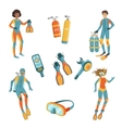 People Scuba Diving And Freediving Gear vector image vector image