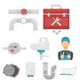 plumbing set icons in cartoon style big vector image vector image