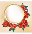 Round banner with Christmas poinsettia vector image vector image