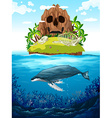 Scene with island and whale underwater vector image vector image