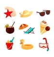 Set beach vacation objects vector image vector image