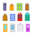 set entrance door front view homes and buildings vector image vector image