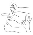 set of cartoon hands vector image
