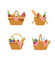 set picnic hamper with food and tablecloth vector image vector image