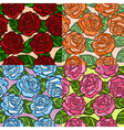 set seamless background roses with green leaves vector image