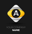 silver letter a logo in the silver-yellow square vector image