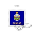 State of Kansas flag postage stamp vector image vector image