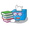 student with book tissue box isolated on the vector image vector image