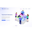 teamwork solutions isometric landing page banner vector image vector image
