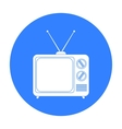 Television advertising icon in black style vector image vector image
