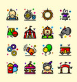 thin line circus icons set vector image vector image