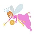 Tooth fairy with a magic wand and coin vector image vector image