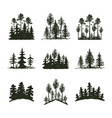 tree outdoor travel black silhouette coniferous vector image