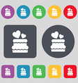 wedding cake icon sign A set of 12 colored buttons vector image