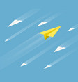 white and yellow paper airplanes are flying vector image vector image