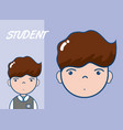young school student cartoon vector image