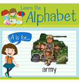 Flashcard letter A is for army vector image