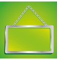 metal frame with glass and chain on a green backgr vector image