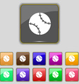 Tennis ball icon sign Set with eleven colored vector image